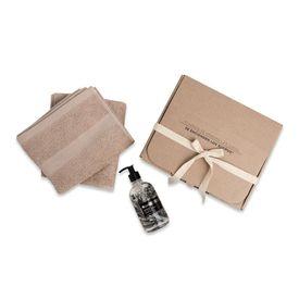 set-baño-regalable-toallas-camel-jabon-liquido