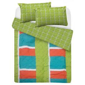 edredon-microfibra-cuadrata-verde-naranja